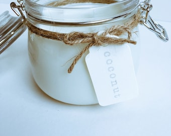 Coconut scented candle, soy wax candle, vegan candle, clip top jar,