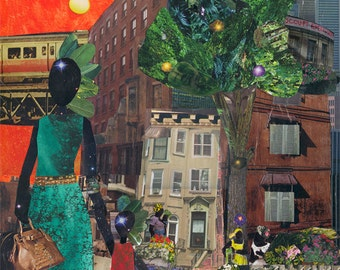 On our Way to Ballet Class. 8x10 print African American. Ballet. Print. Queens. Haiti. NYC. Collage