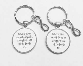 Sister Gift, Sister To Sister We Will Always Be Just A Couple Of Nuts Off The Same Family Tree Sisters Gift Keychain Set
