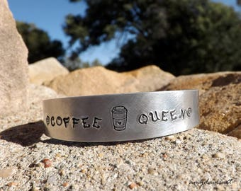 Coffee Cup Bracelet, Hand Stamped Jewelry, Gift For Coffee Lover, Cuff Bracelet, Coffee Gift Ideas, Gift for Sister, Coffee Queen Bracelet