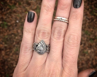 Star Flower Ring, Sterling and Fine Silver, Handmade, Size 6
