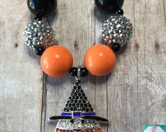 Candy Corn - Candy Corn Necklace - Halloween - Halloween Necklace - Fall - Candy - Black, Orange, and White - Chunky Bead Necklace