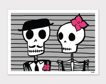Skeleton Couple Print