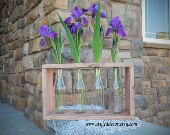 Rustic Bud Vase Centerpiece with 4 Bottles. Rustic Home Decor. Rustic Centerpiece. Wedding Gift. Wedding Centerpiece