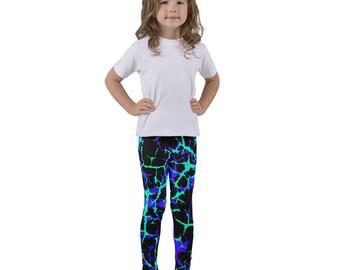 Fun legging pattern, Leggings, girls leggings, gift for her, teal and purple, neon colors, black leggings, mommy and me, toddler leggings