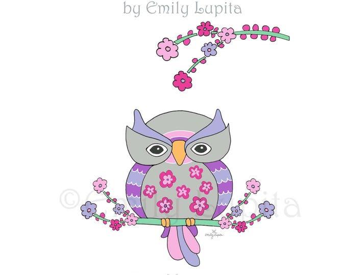 "Illustration Art Print ""Wonder Owl"" / Bird Portrait Wall Art / Nursery New Baby / Baby Shower Gift / Animal Artwork"