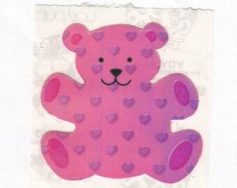 SALE Rare Vintage Sandylion Pearl Finish Love Bear Sticker - 80's Opal Pink Purple Heart Iridescent MOP Pearly Teddy