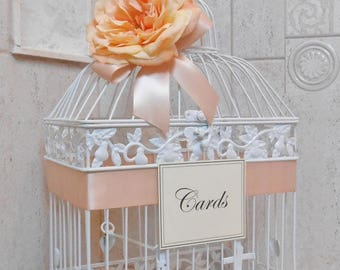 Peach Wedding Birdcage Card Holder | White Birdcage | Wedding Card Box | Wedding Card Holder | Spring Wedding Decor | Summer Wedding Decor