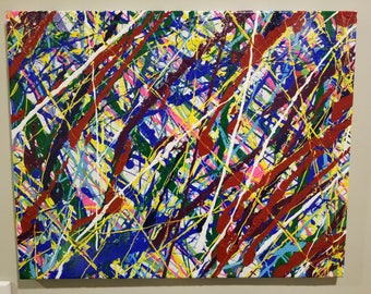 "24 x 12 hand painted canvas ""Organic Splatter' original (1 of 1)"