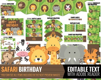 Safari Birthday Decorations Package. Printable Jungle Theme Kids Birthday Party Decor. Funny Gender Neutral First Birthday. Editable
