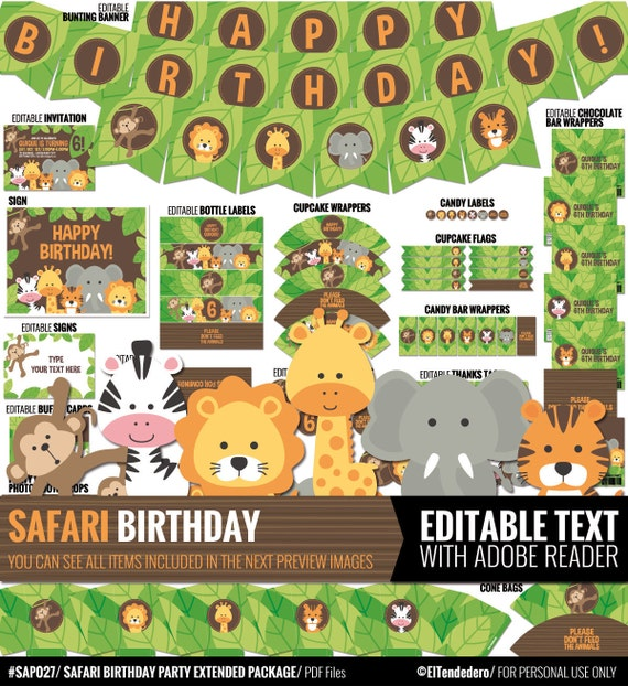 Safari Birthday Decorations Package Printable Jungle Theme
