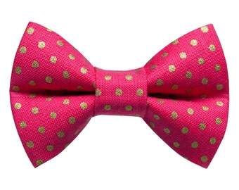 "Cat Bow Tie - ""The Dazzler "" - Pink with Gold Metallic Polka Dot"