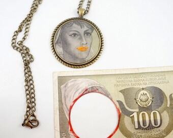Antique money,  Accountant, Banker, Jackpot, Jugoslavija, Yugoslavian,paper money,handmade necklace,unique necklace,antique,Vintage money,