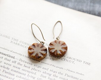 Brown Antique Earrings, Czech Glass Beads, Brass, Neo Vintage Jewelry