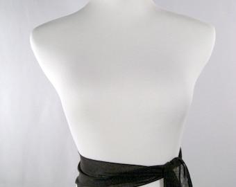 Wedding Sash - Black Chiffon Sash - Long Sash Belt Tie - Squared Ends - Multi Width