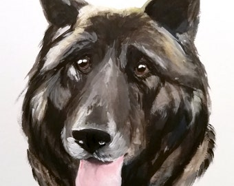 CUSTOM Dog Portraits of Your Dog in Gouache