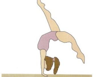 Gymnastic Balance Beam Girl  counted Cross Stitch Pattern