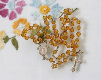 First Communion Catholic Rosary from France - Amber Hand Cut Glass Beads & Trefoil Crucifix