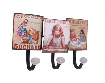 Vintage Print Kitchen Tool & Mug Hook Rack