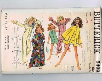1970s Vintage Sewing Pattern Butterick 5499 Girls Robe Pajamas Clown Suit Costume Size 2 Breast 21 70s UNCUT  99