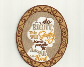 Mark Twain Quote, Cameo Patch! Custom Made!