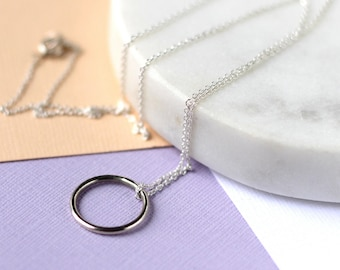 Circle Necklace - Sterling Silver | modern jewellery | mother's day  | circle necklace | mini pendant | birthday gift | uk gift