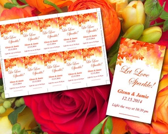 "Let Love Sparkle Sparkler Tag | Autumn Wedding ""Watercolor Fall"" Burnt Orange Red Fall Wedding 