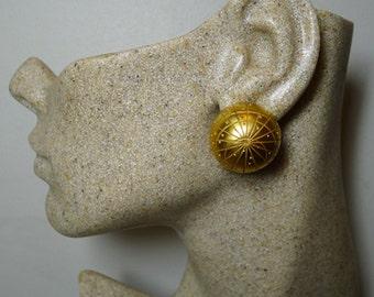 Authentic Hermes Vintage Zodiac Matte Dome Clip Earrings