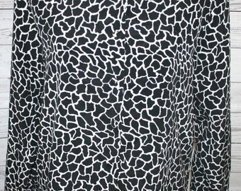 VINTAGE! Women's Voir Black & White Giraffe Print Long Sleeve Shoulder Pad Top L