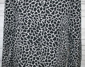 VINTAGE! Women's Voir Black & White Giraffe Print Long Sleeve Shoulder Pad Top L