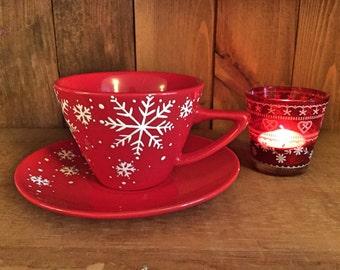 Christmas coffee tea hot chocolate cup and saucer, christmas mug, Christmas gift, 220ml or 340ml, UK seller, ready to ship
