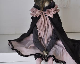 Interior doll tapir-vampir Agness,  ooak art collection doll,paperclay,ladoll,textile doll,Tilda, fabric doll, brown, pink, gothic, Easter