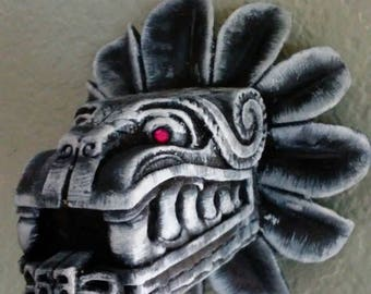 aztec feather serpent wall statue!