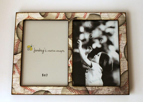 Double 4x6 or 5x7 Picture Frame Baseball Baseball Photo