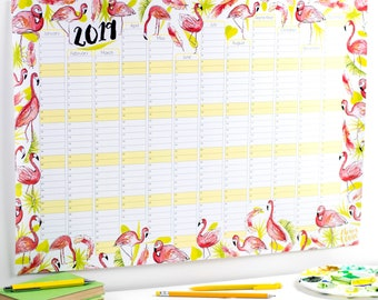 Large 2019 Wall Calendar And Year Planner - Flamingo wall planner 20189 - Tropical year wall planner - Flamingos planner