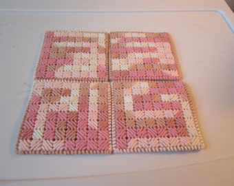 CHECKERBOARD COASTERS with HOLDER done in Rosewood Cotton Yarn in Plastic NeedlepointSold in Set of 4