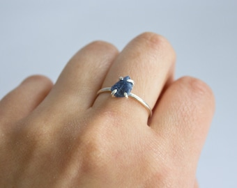 Raw Blue Sapphire Mineral Ring (Polished Silver) - raw gemstone ring - sterling silver - handmade - one of a kind