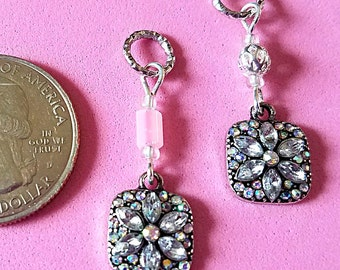 Hearing Aid Charms:  Ornate Jeweled Flowers with Glass and Czech Glass Beads!
