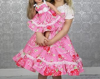 Girls Dress Valentine Easter Birthday Flower Girl tea party ruffled twirl dress romantic dress pink roses red roses Dress with doll dress