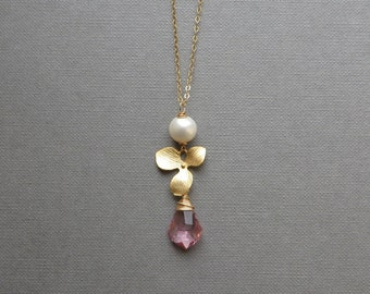 White Pearl Golden Flower Pink Crystal Pendant Gold Chain Necklace