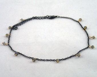 """Teardrop Necklace in Labradorite - 14.5"""" gunmetal and labradorite necklace"""