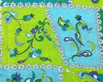 70s Don't Eat the Daisies//Allover Cotton Abstract//Quilting Print//Trailing flowers in Purple, Aqua, Emerald, White on Aqua Ground