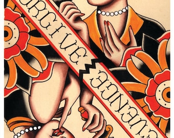 Vintage Frienemies, Forgive or Revenge, Tattoo Flash Print