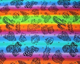 Laurel Burch Oop JUNGLE SONGS Rainbow Stripe Fabric - BTHY