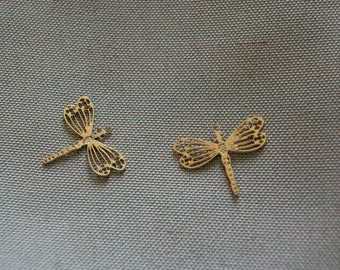2 filigree Dragonfly charms, metal gold rose, insect jewelry