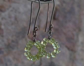 PERIDOT earrings, Peridot HOOPS, August birthstone, August birthday, sterling silver