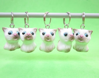 Siamese Cat Knitting Stitch Markers - Set of 5 - cat polymer clay animal charms, gift for cat lover, gift for knitters, knit cat charms