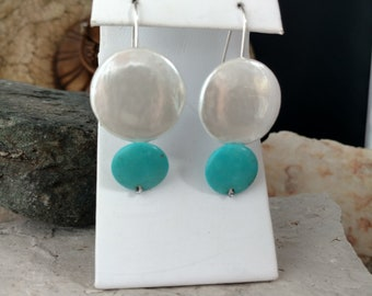 Turquoise earring,white earring,sterling silver,geometric,light weight,one of a kind,contemporary,modern,Meja Designs,handmade,french wire