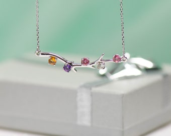 Personalized Branch Family Birthstone Necklace for Mother in Sterling Silver, 14k White Yellow or Rose Gold with 1, 2, 3, 4 or 5 Stones