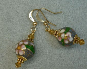 Vintage Chinese Blue Cloisonne Pink White Flower Bead Earrings Dangle, Golden Yellow Crystal,Gold Ear Wires